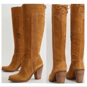 JESSICA SIMPSON SUEDE Cognac High Stacked Boots 10